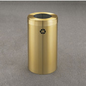 Glaro RecyclePro Value Series Receptacle, 15 Gallon, Available in Multiple Colors, 12''W, 7''Dia. hole, No Message, Only Recycling Logo, Satin Brass Finish, Satin Brass Top
