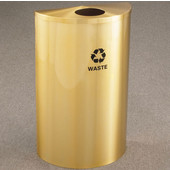 Glaro Single Purpose Half Round Recycling Receptacle, 10 Gallon, Available in Multiple Colors, 18''W, 5-1/2'' opening, Trash message w/ Recycling Logo, Satin Brass Finish, Satin Brass Top