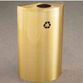 Glaro Single Purpose Half Round Recycling Receptacle, 10 Gallon, Available in Multiple Colors, 18''W, 5-1/2'' opening, No Message, Only Recycling Logo, Satin Brass Finish, Satin Brass Top
