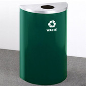 Glaro Single Purpose Half Round Recycling Receptacle, 10 Gallon, Available in Multiple Colors, 18''W, 5-1/2'' opening, Trash message w/ Recycling Logo, Hunter Green Finish, Satin Brass Top, Shown with Satin Aluminum Top