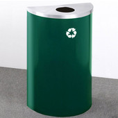 Glaro Single Purpose Half Round Recycling Receptacle, 10 Gallon, Available in Multiple Colors, 18''W, 5-1/2'' opening, No Message, Only Recycling Logo, Hunter Green Finish, Matching Top, Shown with Satin Aluminum Top