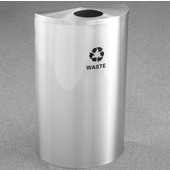 Glaro Single Purpose Half Round Recycling Receptacle, 10 Gallon, Available in Multiple Colors, 18''W, 5-1/2'' opening, Trash message w/ Recycling Logo, Satin Aluminum Finish, Satin Aluminum Top