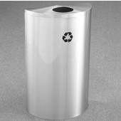 Glaro Single Purpose Half Round Recycling Receptacle, 10 Gallon, Available in Multiple Colors, 18''W, 5-1/2'' opening, No Message, Only Recycling Logo, Satin Aluminum Finish, Satin Aluminum Top