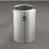 Glaro RecyclePro Value Series Receptacle, 23 Gallon, Available in Multiple Colors, 15''W, 9''Dia. hole, Waste message w/ Recycling Logo, Satin Aluminum Finish, Satin Aluminum Top