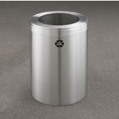 Glaro RecyclePro Value Series Receptacle, 41 Gallon, Available in Multiple Colors, 20''W, 14''Dia. hole, No Message, Only Recycling Logo, Satin Aluminum Finish, Satin Aluminum Top