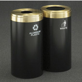 Glaro 2X RecyclePro Value Series Linear Modular 30 Gallon Capacity Connected Recycling Receptacle Stations, 12'' Diameter Dual Unit (Bottle and Waste) in Satin Black and Satin Brass Top