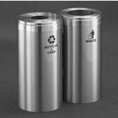 Glaro 2X RecyclePro Value Series Linear Modular 30 Gallon Capacity Connected Recycling Receptacle Stations, 12'' Diameter Dual Unit (Bottle and Waste) in Satin Aluminum and Satin Aluminum Top