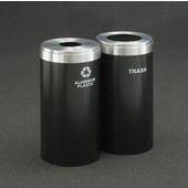 Glaro 2X RecyclePro Value Series Linear Modular 46 Gallon Capacity Connected Recycling Receptacle Stations, 15'' Diameter Dual Unit (Bottle and Waste) in Satin Black and Satin Aluminum Top