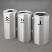 Glaro 3X RecyclePro Value Series Linear Modular 69 Gallon Capacity Connected Recycling Receptacle Stations, 15'' Diameter Triple Unit (Bottle, Paper and Waste) in Satin Aluminum and Satin Aluminum Top
