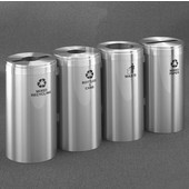 Glaro 4X RecyclePro Value Series Linear Modular 92 Gallon Capacity Connected Recycling Receptacle Stations, 15'' Diameter Quadruple Unit (Bottle, Paper, Waste and Bottle) in Satin Aluminum and Satin Aluminum Top