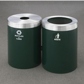 Glaro 2X RecyclePro Value Series Linear Modular 82 Gallon Capacity Connected Recycling Receptacle Stations, 20'' Diameter Dual Unit (Bottle and Waste) in Hunter Green and Satin Aluminum Top