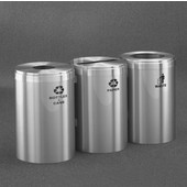 Glaro 3X RecyclePro Value Series Linear Modular 123 Gallon Capacity Connected Recycling Receptacle Stations, 20'' Diameter Triple Unit (Bottle, Paper and Waste) in Satin Aluminum and Satin Aluminum Top