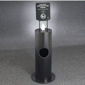 Glaro Floor Standing 10'' Diameter Waste Bin with Sanitizing Wipe Dispenser Combo (Includes: Silk Screening Disinfecting Wipe Sign and Adapter Bracket) in Satin Black