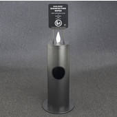 Glaro Floor Standing 10'' Diameter Waste Bin with Sanitizing Wipe Dispenser Combo (Includes: Silk Screening Disinfecting Wipe Sign and Adapter Bracket) in Silver Vein