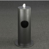 Glaro Floor Standing 10'' Diameter Waste Bin with Disinfecting Wipe Dispenser Combo in Silver Vein