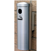 Glaro Wall Mount Smoker's Post in Satin Brass, 3-1/2'' Dia x 12'' H, Shown in Satin Aluminum with Many Other Colors Available