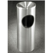 Glaro New Yorker Funnel Top Ash/Trash Receptacle in Satin Aluminum,  9'' Dia x 23''H, 3 Gal