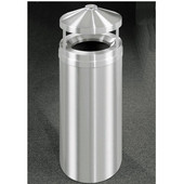 Glaro New Yorker Series Canopy Top Ash/Trash Receptacle in Satin Aluminum, 12'' Dia x 39'' H, 12 Gal, Shown in 12 Gallon Model with Many Other Sizes Available