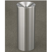 Glaro New Yorker Funnel Cover Urn Receptacle in Satin Aluminum, 9'' Dia x 23''H