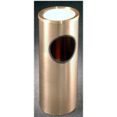 Glaro Atlantis Series Sand Cover Ash/Trash Receptacle in Satin Brass, 9'' Dia x 23'' H, 3 Gal, Shown in 3 Gallon Model with Many Other Sizes Available
