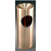 Glaro Atlantis Funnel Top Ash/Trash Receptacle in Satin Brass, 9''Dia x 23''H, 3 Gal