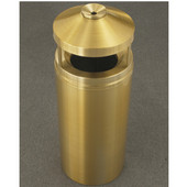Glaro Atlantis Series Canopy Top Ash/Trash Receptacle in Satin Brass, 12'' Dia x 39'' H, 12 Gal, Shown in 12 Gallon Model with Many Other Sizes Available