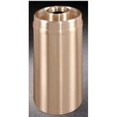 Glaro Atlantis Series Donut Top Ash/Trash Receptacle in Satin Brass, 15'' Dia x 33'' H, 16 Gal, Shown in 16 Gallon Model with Many Other Sizes Available