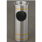 Glaro Capri Series Sand Cover Banded Ash/Trash Receptacle, 9'' Dia x 23'' H, 3 Gal, Satin Aluminum w/ Brass Bands, Shown with Satin Aluminum Bands with Other Finishes Available