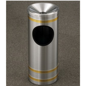 Glaro Capri Series Funnel Cover Banded Ash/Trash Receptacle, 9'' Dia x 23'' H, 3 Gal, Satin Aluminum w/ Brass Bands, Shown with Brass bands with Other Finishes Available