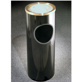 Glaro Mount Everest Series Satin Brass Sand Cover Ash/Trash Receptacle in Black, 9'' Dia x 23'' H, 3 Gal, Shown in Black 6 Gallon Model with Many Other Sizes & Colors Available