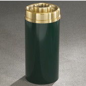 Glaro Mount Everest Series Satin Brass Donut Top Ash/Trash Receptacle in Multiple Colors, Shown in Hunter Green