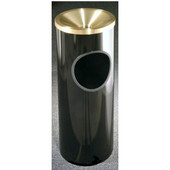 Glaro Mount Everest Series Satin Brass Funnel Top Ash/Trash Receptacle in Black, 9'' Dia x 23'' H, 3 Gal, Shown in Black Finish with Many Other Colors Available