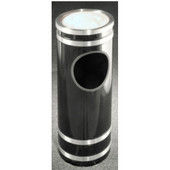 Glaro Monte Carlo Series Sand Top Ash/Trash Receptacle in Black w/ Aluminum Bands, 9'' Dia x 23'' H, 3 Gal, Shown in Black w/ Aluminum Bands with Many Other Colors Available