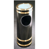 Glaro Monte Carlo Series Sand Top Ash/Trash Receptacle in Black w/ Brass Bands, 9'' Dia x 23''H, 3 Gal, Shown in Black w/ Brass Bands with Many Other Colors Available