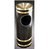 Glaro Monte Carlo Series Funnel Top Ash/Trash Receptacle in Black w/ Brass Bands, 9'' Dia x 23'' H, 3 Gal, Shown in Black w/ Brass Bands with Many Other Colors Available