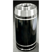 Glaro Monte Carlo Series Donut Top Ash/Trash Receptacle in Black w/ Aluminum Bands, 15'' Dia x 33'' H, 16 Gal, Shown in Black w/ Aluminum Bands with Many Other Colors Available