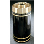 Glaro Monte Carlo Series Donut Top Ash/Trash Receptacle in Black w/ Brass Bands, 15'' Dia x 33'' H, 16 Gal, Shown in Black w/ Aluminum Bands with Many Other Colors Available