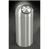 Glaro New Yorker Dome Top Waste Receptacle, 8 Gal, 12'' Dia x 30'' H, All Satin Aluminum, Available in Multiple Sizes