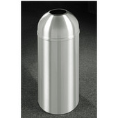 Glaro New Yorker Open Dome Top Waste Receptacle, 8 Gal, 12'' Dia x 30'' H, All Satin Aluminum, Available in Multiple Sizes