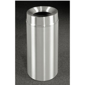 Glaro New Yorker Funnel Top Waste Receptacle, 12 Gal, 12'' Dia x 32'' H, All Satin Aluminum, Available in Multiple Sizes