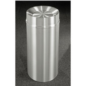 Glaro New Yorker Tip Action Top Waste Receptacle, 12 Gal, 12'' Dia x 32'' H, All Satin Aluminum, Available in Multiple Sizes