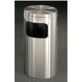 Glaro New Yorker Flat Top Waste Receptacle, 10 Gal, 15'' Dia x 31'' H, All Satin Aluminum, Available in Multiple Sizes