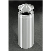 Glaro Canopy Top Satin Aluminum Cover Waste Receptacle, 12 Gal, 12'' Dia x 39'' H, Available in Multiple Sizes, All Satin Aluminum, Shown in All Satin Aluminum finish