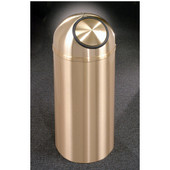 Glaro Atlantis Dome Top Waste Receptacle, 8 Gal, 12'' Dia x 30'' H, All Weather Satin Brass, Available in Multiple Sizes