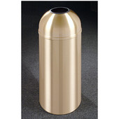 Glaro Atlantis Open Dome Top Waste Receptacle, 8 Gal, 12'' Dia x 30'' H, All Weather Satin Brass, Available in Multiple Sizes
