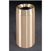 Glaro Atlantis Funnel Top Waste Receptacle, 12 Gal, 12'' Dia x 32'' H, All Weather Satin Brass, Available in Multiple Sizes