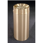 Glaro Atlantis Tip Action Top Waste Receptacle, 12 Gal, 12'' Dia x 32'' H, All Weather Satin Brass, Available in Multiple Sizes