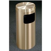Glaro Atlantis Flat Top Waste Receptacle, 10 Gal, 15'' Dia x 31'' H, All Weather Satin Brass, Available in Multiple Sizes