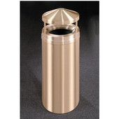 Glaro Canopy Top Satin Brass Cover Waste Receptacle, 12 Gal, 12'' Dia x 39'' H, Available in Multiple Sizes, All Satin Brass, Shown in All Satin Brass finish