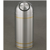 Glaro Capri Dome Top Waste Receptacle, 8 Gal, 12'' Dia x 30'' H, Satin Aluminum w/ Brass bands, Available in Multiple Sizes